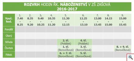 Rozvrh Nabozenstvi 2016-2017